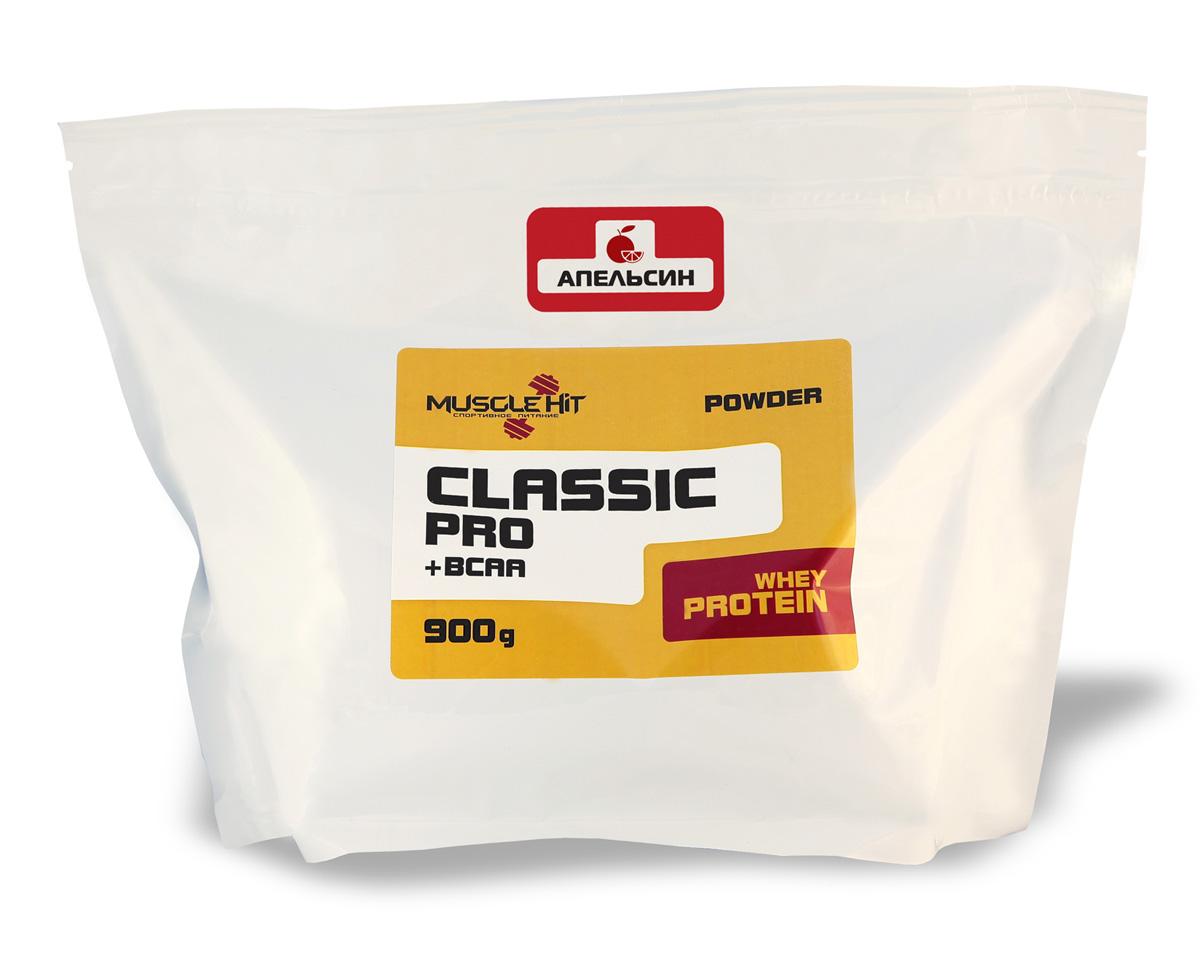 Протеин Muscle Hit Classic Pro, апельсин 900 гЯБ016787Muscle Hit Classic Pro - источник дополнительного сывороточного протеина быстрого усвоения и комплекса BCAA (лейцин + валин + изолейцин) - незаменимых L-аминокислот с разветвленной молекулярной цепочкой. Предотвращает катаболизм, оптимизирует процессы восстановления после нагрузок/тренировок. Продукт предназначен для набора сухой мышечной массы.Рекомендации по применению: для приготовления коктейля 1 порцию порошка (50 г = 2 мерные ложки с горкой) размешайте в шейкере в 250-300 мл воды, или сока, или нежирного молока до получения однородной массы. Коктейль принимайте 2 раза в день (после тренировки и между приемами пищи). Готовый продукт хранению не подлежит. При разведении в молоке и соке пищевая и энергетическая ценность увеличивается.Состав: концентрат сывороточного белка, глюкоза, кристаллическая фруктоза, комплекс незаменимых аминокислот ВСАА (лейцин, валин, изолейцин), вкусовой наполнитель.Товар сертифицирован.Как повысить эффективность тренировок с помощью спортивного питания? Статья OZON Гид