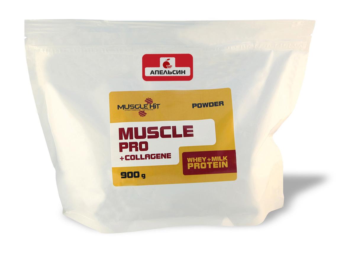 Протеин Muscle Hit Muscle Pro, с коллагеном, апельсин, 900 г10530999Протеин Muscle Hit Muscle Pro - дополнительный источник сывороточно-молочных протеинов постепенного усвоения и коллагена. Достаточное количество белка способствует сдвигу обменных процессов в сторону анаболизма (синтеза). Коллаген защищает суставы от износа. Продукт предназначен для набора сухой мышечной массы (рельефа).Рекомендации по применению: для приготовления коктейля 1 порцию порошка (50г = 2 мерные ложки с горкой) размешайте в шейкере в 250-300 мл воды, или сока, или нежирного молока до получения однородной массы. Коктейль принимайте 2 раза в день (до и после тренировок). Готовый продукт хранению не подлежит. При разведении в молоке и соке пищевая и энергетическая ценность увеличивается.Состав: концентрат сывороточного белка, концентрат молочного белка, глюкоза, кристаллическая фруктоза, коллаген, вкусовой наполнитель.Товар сертифицирован.Как повысить эффективность тренировок с помощью спортивного питания? Статья OZON Гид