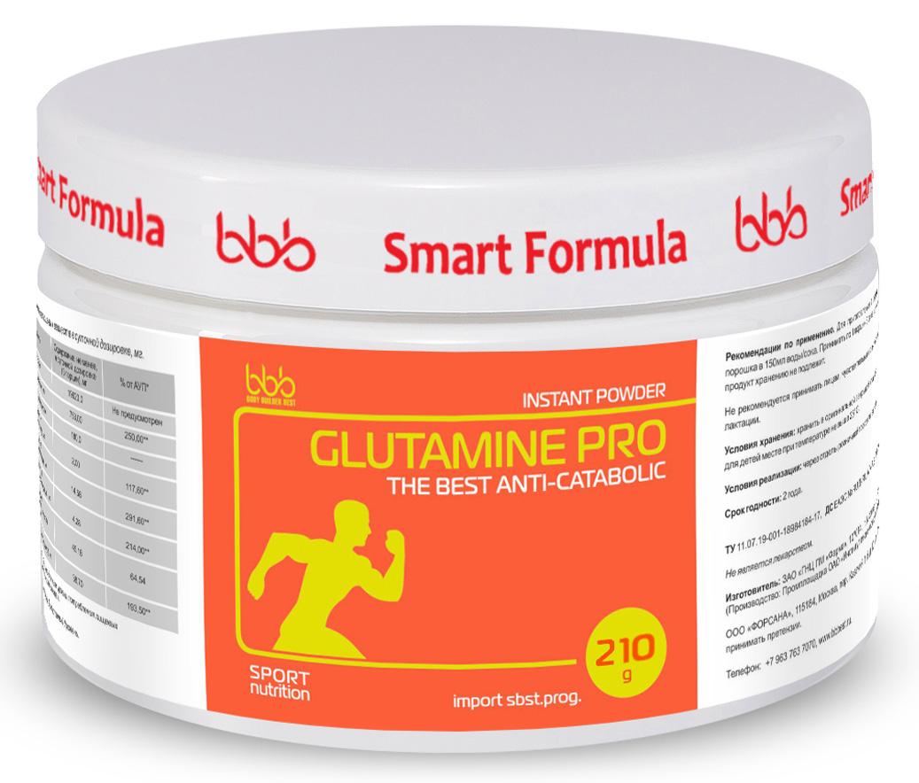 Витаминно-минеральный комплекс bbb L-Glutamine Pro, 210 г. 105630105630Glutamine Pro (Глутамин Про) - дополнительный источник условно незаменимой аминокислоты L-глутамин, самой распространенной и востребованной в организме. Продукт создан для лучшей переносимости тяжелых физических/психологических нагрузок и сокращения периода восстановления после них.Является мощным анти-катаболиком (нейтрализует молочную кислоту в мышцах, предотвращает повреждение и распад мышечной ткани), стимулирует выработку гормона роста, оптимизирует синтез протеинов. Нормализует процессы гликолиза в тканях. Способствует выведению из организма аммиака. Оказывает гепатопротекторное и иммунно-протекторное действие.Рекомендации по применению: GlutaminePro рекомендуется использовать в программах по набору мышечной массы и работы на рельеф. Он хорошо сочетается с креатином, ВСАА, предтренировочными комплексами, экдистероном. Употреблять продукт лучше в виде напитка, разделив дозу на 2 приема: за 30 минут до тренировки, или сразу после тренировки. Оптимальная суточная дозировка порошка GlutamineProсоставляет 7,5г (1 порция= 1 мерная ложка). Длительность курса потребления определяется специалистом. Для приготовления напитка необходимо 1 порцию(1 мерную ложку) порошка развести в 150-200мл воды/сока. В связи с низкой устойчивостьюглутамина в растворах, напиток не рекомендуется хранить более 1,5 часов. Перед началом курса приема L-глутамина обязательна консультация специалиста, особенно лицам,принимающим лекарства и находящимся под медицинским наблюдением в связи с любым заболеванием.Как повысить эффективность тренировок с помощью спортивного питания? Статья OZON Гид