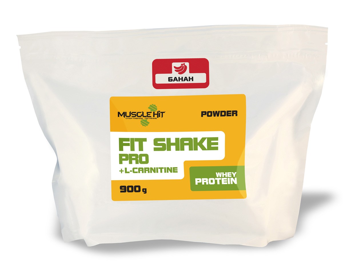 Протеин Muscle Hit Fit Shake Pro, с L-карнитином, банан, 900 гЯБ016761Muscle Hit Fit Shake Pro - источник дополнительного сывороточного протеина быстрого усвоения и L-карнитина. Прием необходимо сочетать с физическими нагрузками. Продукт предназначен для поддержания организма в тонусе и сжигания избыточного жира.Способ приготовления: для приготовления коктейля 1 порцию порошка (50 г = 2 мерные ложки) размешайте в шейкере в 250-300 мл воды, или сока, или нежирного молока до получения однородной массы. Коктейль принимайте 1-2 раза в день (перед тренировкой и/или после приема пищи). Готовый продукт хранению не подлежит. При разведении в молоке и соке пищевая и энергетическая ценность увеличивается.Состав: концентрат сывороточного белка, L-карнитин, глюкоза, кристаллическая фруктоза, комплекс незаменимых аминокислот ВСАА (лейцин, валин, изолейцин), вкусовой наполнитель.br Товар сертифицирован.Как повысить эффективность тренировок с помощью спортивного питания? Статья OZON Гид