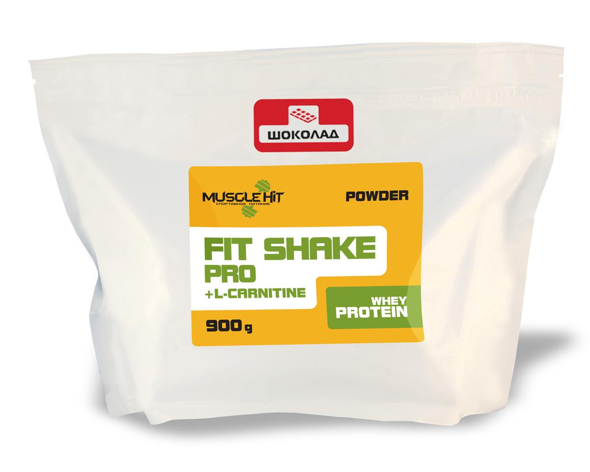 """Протеин Muscle Hit """"Fit Shake Pro"""", с L-карнитином, шоколад, 900 г"""