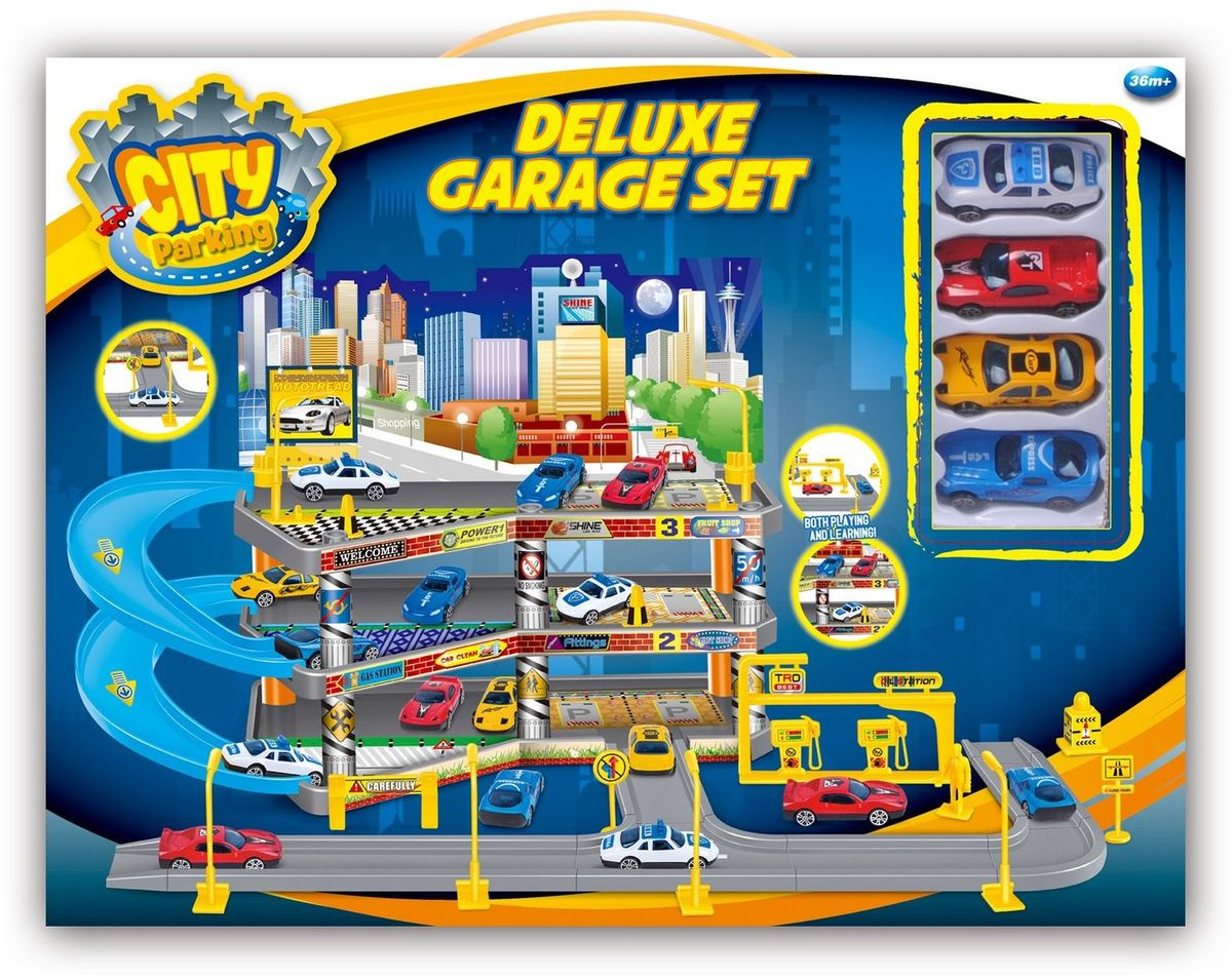 Dave Toy Игровой набор Гараж Делюкс с 4 машинками - Транспорт, машинки