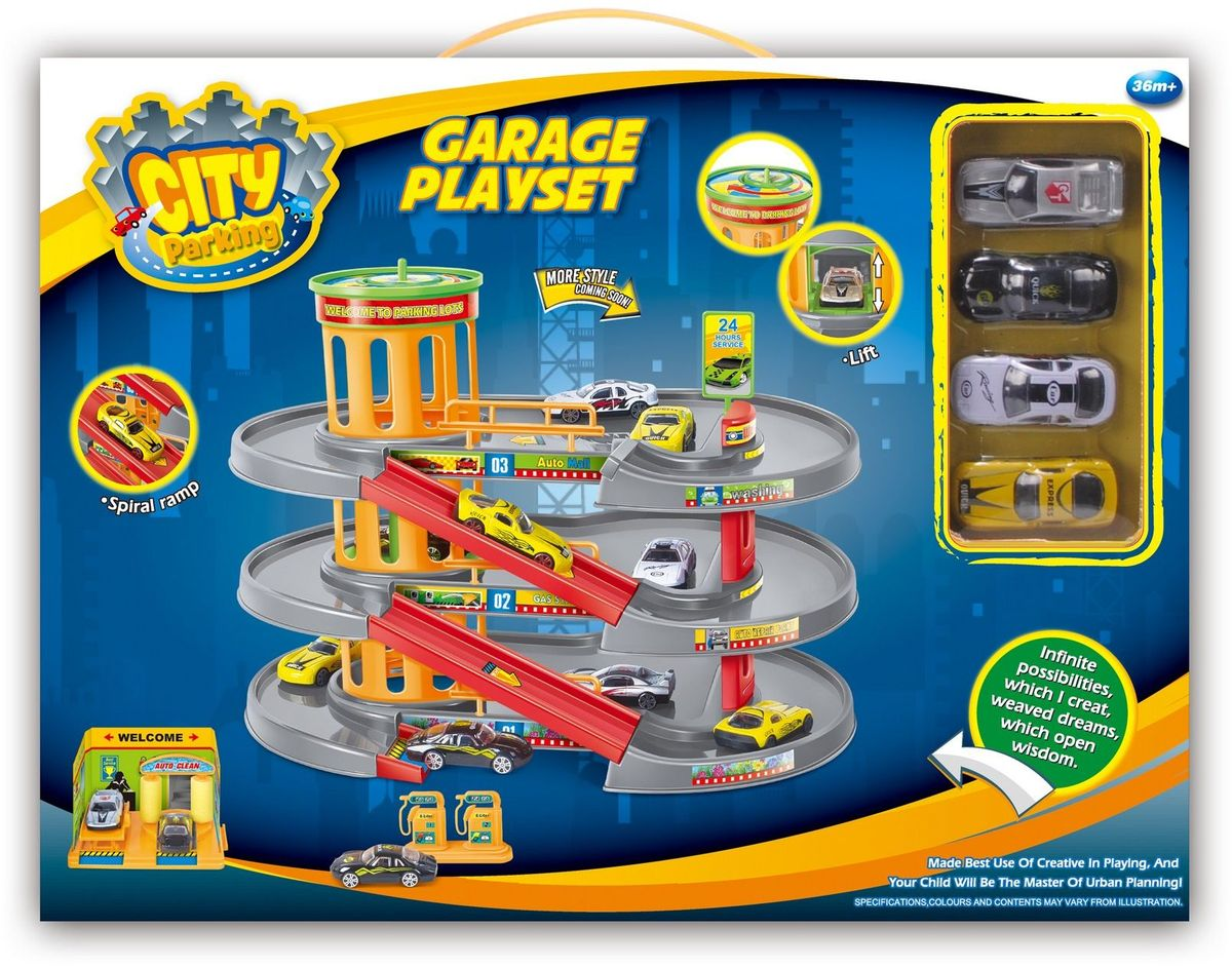 Dave Toy Игровой набор Гараж с 4 машинками - Транспорт, машинки