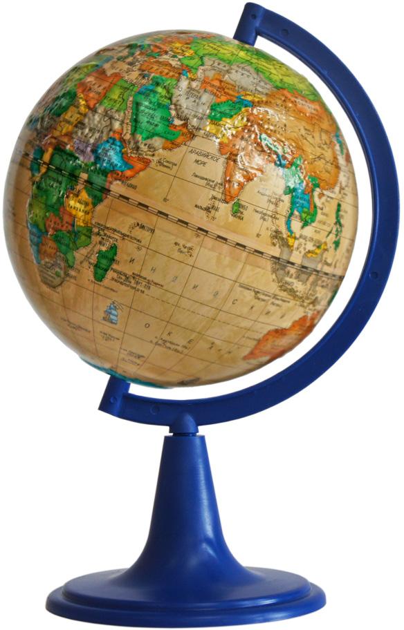 Глобусный мир Глобус политический рельефный Ретро-Александр диаметр 15 см10339Глобус Ретро-Александр с политической картой мира, изготовленный из высококачественного прочного пластика, показывает страны мира, границы того или иного государства, расположение столиц государств, городов и населенных пунктов.Изделие расположено на синий пластиковой подставке. На глобусе отображены картографические линии: параллели и меридианы, а также градусы и условные обозначения. Все страны мира раскрашены в разные цвета. Модель имеет рельефную выпуклую поверхность, что, в свою очередь, делает глобус особенно интересным для детей младшего школьного возраста. Названия стран на глобусе приведены на русском языке. Глобус с политической картой мира станет незаменимым атрибутом обучения не только школьника, но и студента.Настольный глобус Ретро-Александр станет оригинальным украшением рабочего стола.Масштаб: 1:84 000 000.