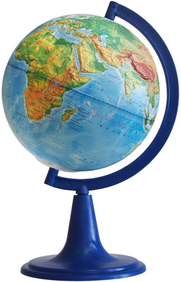 Глобусный мир Глобус с физической картой, рельефный, диаметр 15 см10335Глобус с физической картой Глобусный мир, изготовленный из высококачественного прочного пластика, показывает страны мира, сухопутные и морские границы того или иного государства, расположение городов и населенных пунктов. На нем отображены картографические линии: параллели и меридианы, а также градусы и условные обозначения. На глобусе имеются направления, названия подводных течений и ветров. С помощью данного глобуса можно получить правильное представление о форме, размерах, расположении материков, океанов, островов, морей и рек. Модель имеет рельефную выпуклую поверхность, что, в свою очередь, делает глобус особенно интересным для детей младшего школьного и дошкольного возрастов. Названия стран на глобусе приведены на русской язык. Помимо этого глобус обладает приятной цветовой гаммой. Изделие расположено на подставке. Настольный глобус с физической картой Глобусный мир станет оригинальным украшением рабочего стола или вашего кабинета. Это изысканная вещь для стильного интерьера, которая станет прекрасным подарком для современного преуспевающего человека, следующего последним тенденциям моды и стремящегося к элегантности и комфорту в каждой детали.Масштаб: 1:50 000 000.