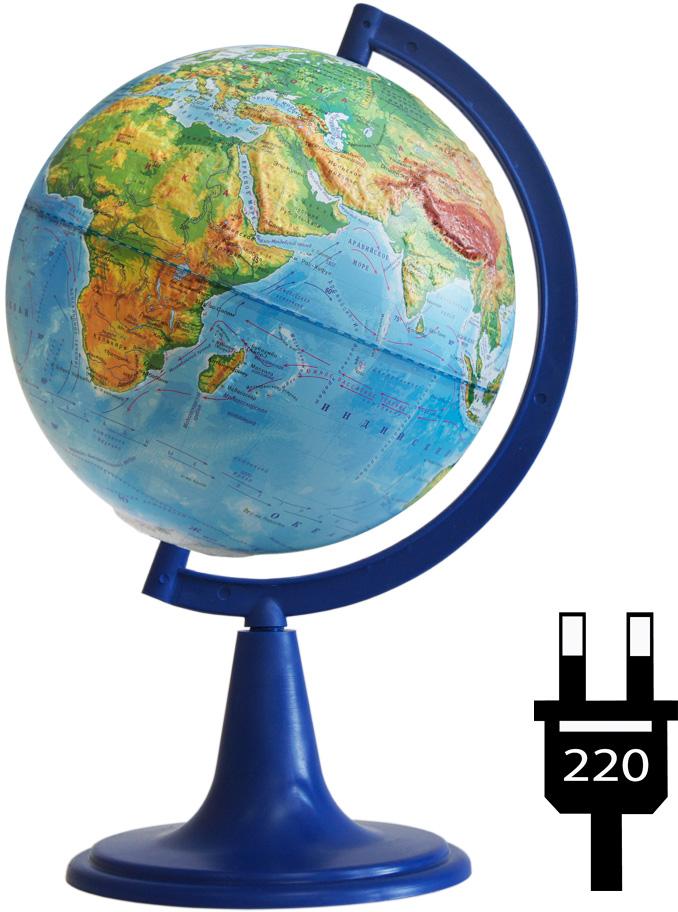 Глобусный мир Глобус с физической картой, рельефный, диаметр 15 см, на подставке, с подсветкой
