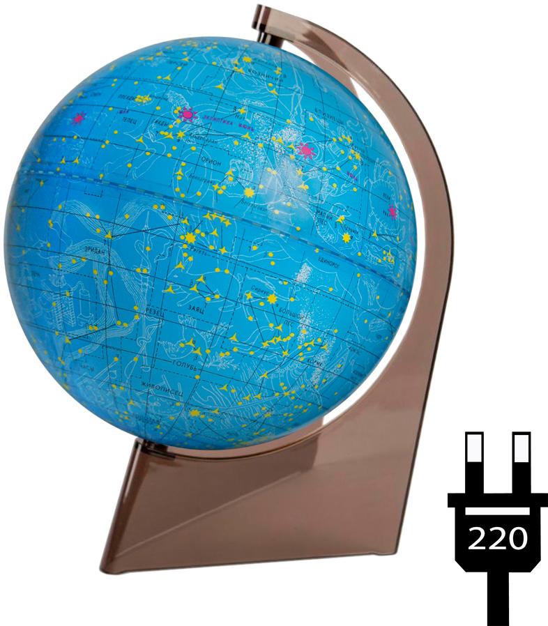 Глобусный мир Глобус звездного неба, с подсветкой, диаметр 21 см10296Глобус звездного неба Глобусный мир, изготовленный из высококачественного прочного пластика.Даннаямодель предназначена для ознакомления с космосом, звездами и созвездиями. На нем нанесены те же круги, чтои на картах звёздного неба, - небесные параллели, меридианы, экватор и эклиптика. Глобус имеет функциюподсветки от электрической сети, при включении которой рисунки созвездий, зодиакальные созвездиявысвечиваются яркими цветами. Такой глобус станет прекрасным подарком и учебным материалом длядальнейшего изучения астрономии. Помимо этого глобус обладает приятной цветовой гаммой. Изделиерасположено на треугольной подставке.Настольный глобус звездного неба Глобусный мир станеторигинальным украшением рабочего стола или вашего кабинета. Это изысканная вещь для стильного интерьера,которая станет прекрасным подарком для современного преуспевающего человека, следующего последнимтенденциям моды и стремящегося к элегантности и комфорту в каждой детали.Масштаб: 1:60 000 000.