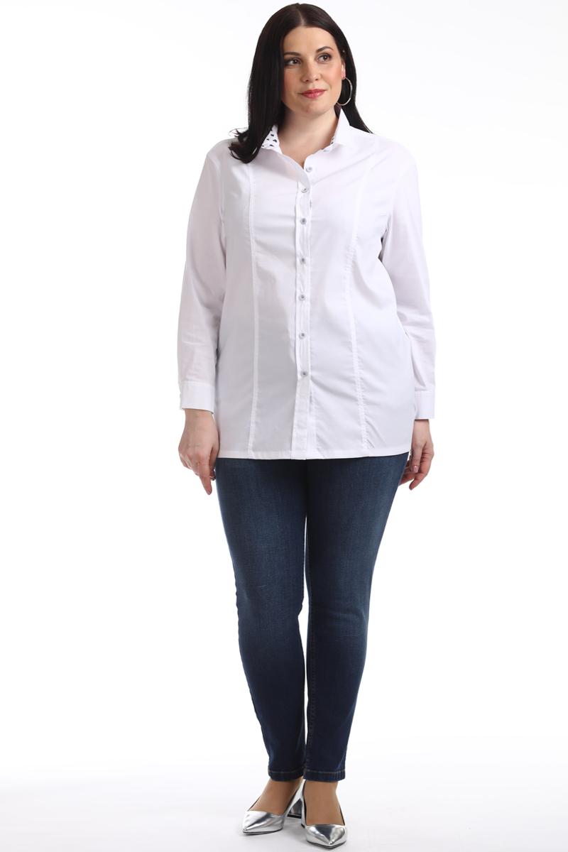 Блузка женская Averi, цвет: белый. 1319_006. Размер 58 (62)1319_006Прекрасная классическая блузка Averi имеет прямой крой, поэтому отлично подходит для любого типа фигуры, выполнена с использованием двух тканей. Модель из белого хлопка с эластаном, с заниженной линией плеча имеет рубашечный воротник, внутренняя стойка из отделочной ткани с принтом. Модель с рельефами, на спинке имеется кокетка, по бокам разрезы. Модель имеет втачной рукав и манжеты с застежкой на пуговицы.