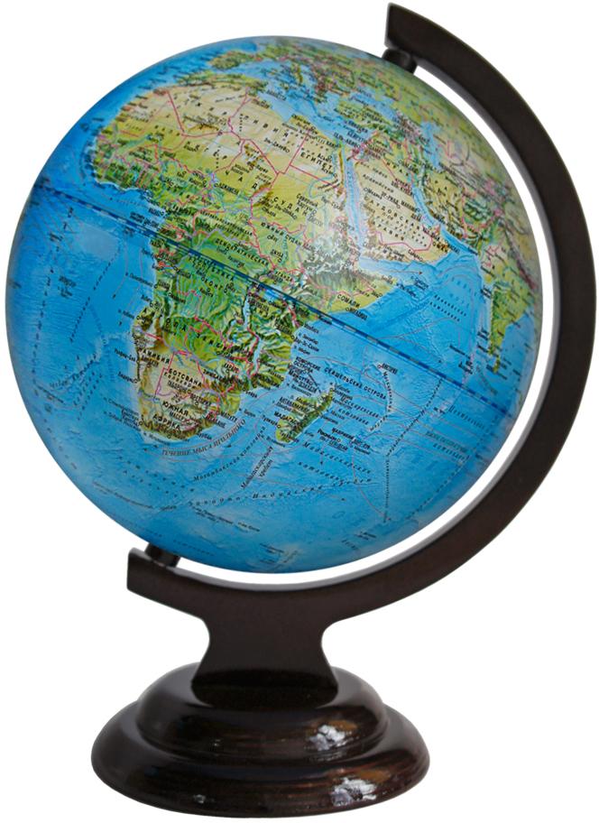 Глобусный мир Ландшафтный глобус, диаметр 21 см, на деревянной подставке10227Ландшафтный глобус Глобусный мир, изготовленный из высококачественного прочного пластика.Данная модель предназначена для ознакомления с особенностями ландшафта нашей планеты. Помимо этого ландшафтный глобус обладает приятной цветовой гаммой. Глобус дает представление о местоположении материков и океанов, на нем можно рассмотреть особенности ландшафта нашей планеты (рельефы местности, леса, горы, реки, моря, структуру дна океанов, рельеф суши), можно увидеть графическое изображение географических меридианов и параллелей, гидрографическая сеть, а также крупнейшие населенные пункты. На глобусе имеются направления и названия подводных течений. Названия стран на глобусе приведены на русской язык. Изделие расположено на красивой деревянной подставке, что придает этой модели подарочный вид.Настольный глобус Глобусный мир станет оригинальным украшением рабочего стола или вашего кабинета. Это изысканная вещь для стильного интерьера, которая станет прекрасным подарком для современного преуспевающего человека, следующего последним тенденциям моды и стремящегося к элегантности и комфорту в каждой детали.Масштаб: 1:60 000 000.