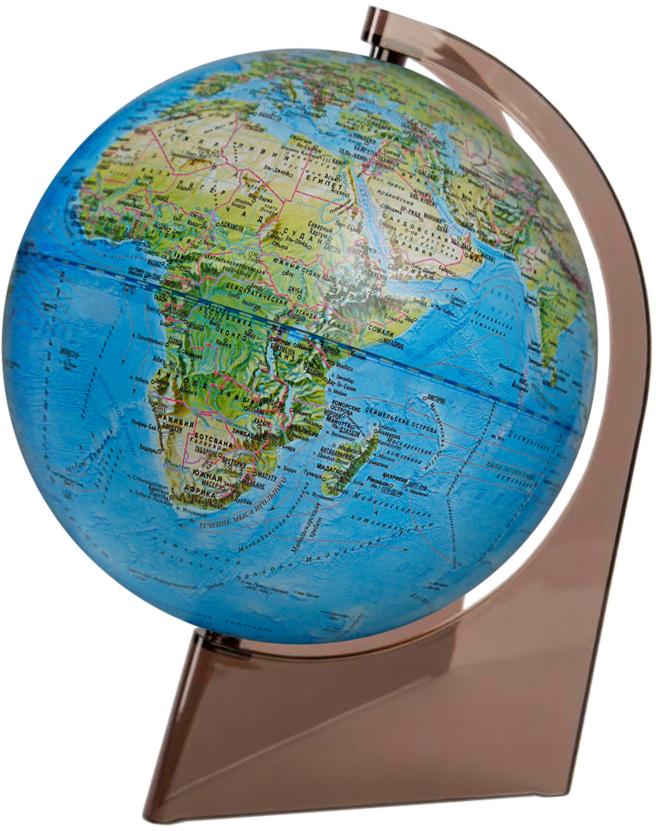 Глобусный мир Глобус ландшафтный диаметр 21 см10285Ландшафтный глобус Глобусный мир, изготовленный из высококачественного прочного пластика.Данная модель предназначена для ознакомления с особенностями ландшафта нашей планеты. Помимо этого ландшафтный глобус обладает приятной цветовой гаммой. Глобус дает представление о местоположении материков и океанов, на нем можно рассмотреть особенности ландшафта нашей планеты (рельефы местности, леса, горы, реки, моря, структуру дна океанов, рельеф суши), можно увидеть графическое изображение географических меридианов и параллелей, гидрографическая сеть, а также крупнейшие населенные пункты. Названия стран на глобусе приведены на русской язык.Настольный ландшафтный глобус Глобусный мир станет оригинальным украшением рабочего стола или вашего кабинета. Это изысканная вещь для стильного интерьера, которая станет прекрасным подарком для современного преуспевающего человека, следующего последним тенденциям моды и стремящегося к элегантности и комфорту в каждой детали.Масштаб: 1:60 000 000.