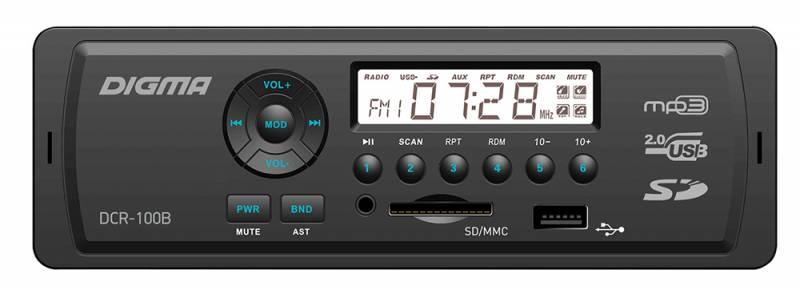 Digma DCR-100B автомагнитола479876MP3/USB ресивер 1DIN, выходная мощность 4х45Вт, FM радио, память на 18 станций, монохромный дисплей, поддержка формата MP3, эквалайзер, порты USB/SD/MMC/AUX, фиксированная панель, синяя подсветка