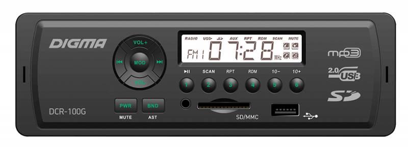 Digma DCR-100G автомагнитола479877MP3/USB ресивер 1DIN, выходная мощность 4х45Вт, FM радио, память на 18 станций, монохромный дисплей, поддержка формата MP3, эквалайзер, порты USB/SD/MMC/AUX, фиксированная панель, зеленая подсветка