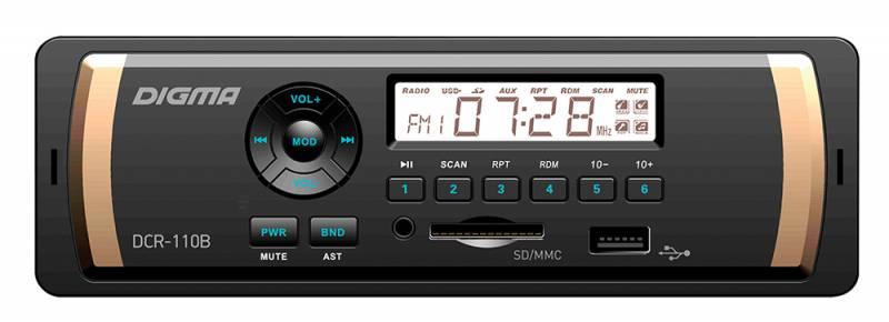 Digma DCR-110B автомагнитола479880Digma DCR-110B - это высококачественный чистый звук мощностью 4 х 45 Вт. Стильная красная подсветка позволит этой модели превосходно вписаться в интерьер салона вашего автомобиля. Встроенное FM радио оснащено памятью на 18 станций. Автомагнитола имеет порты для подключения SD- и ММС-карт, а также линейный аудиовыход и USB-порт. Воспроизводите любимые треки в форматах MP3, WMA, WAV и FLAC.