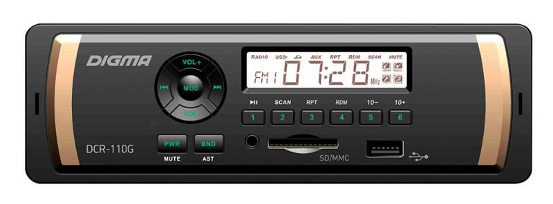 Digma DCR-110G автомагнитола479882MP3/USB ресивер 1DIN, выходная мощность 4х45Вт, FM радио, память на 18 станций, монохромный дисплей, поддержка формата MP3, эквалайзер, порты USB/SD/MMC/AUX, фиксированная панель, зеленая подсветка