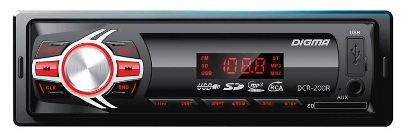 Digma DCR-200R автомагнитола479888Digma DCR-200R - это высококачественный чистый звук мощностью 4 х 45 Вт. К основным особенностям данной модели можно отнести наличие информативного ЖК-дисплея, возможность чтения карт памяти SD, подсветку функциональных клавиш, а также разъем USB и вход AUX 3,5 мм на фронтальной панели. Также имеется высокоскоростной цифровой FM-тюнер с памятью на 18 радиостанций.