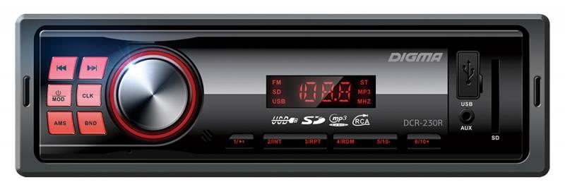 Digma DCR-230R автомагнитола479894К ключевым характеристикам автомагнитолы Digma DCR-230R можно отнести встроенный MP3 декодер, высокочувствительный FM тюнер с памятью на 18 радиостанций, а также возможность воспроизведения музыкального контента с SD/MMC и USB носителей. Выходная мощность 4х45 Вт и встроенный эквалайзер обеспечивают великолепное звучание.