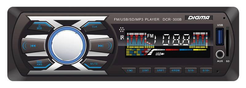 Digma DCR-300B автомагнитола479895К ключевым характеристикам автомагнитолы Digma DCR-300B можно отнести встроенный MP3 декодер, высокочувствительный FM тюнер с памятью на 18 радиостанций, а также возможность воспроизведения музыкального контента с SD/MMC и USB носителей. Выходная мощность 4х45 Вт и встроенный эквалайзер обеспечивают великолепное звучание.