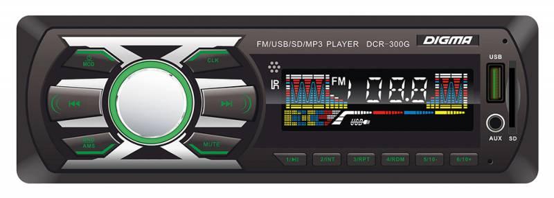 Digma DCR-300G автомагнитола479897Digma DCR-300G - это высококачественный чистый звук мощностью 4 х 45 Вт. К основным особенностям данной модели можно отнести наличие информативного ЖК-дисплея, возможность чтения карт памяти SD, подсветку функциональных клавиш, а также разъем USB и вход AUX 3,5 мм на фронтальной панели. Также имеется высокоскоростной цифровой FM-тюнер с памятью на 18 радиостанций.