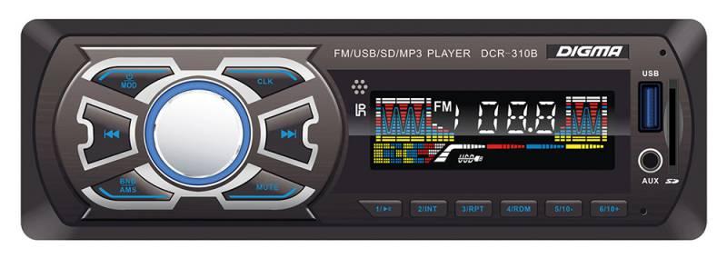 Digma DCR-310B автомагнитола479898Digma DCR-310B - это высококачественный чистый звук мощностью 4 х 45 Вт. К основным особенностям данной модели можно отнести наличие информативного ЖК-дисплея, возможность чтения карт памяти SD, подсветку функциональных клавиш, а также разъем USB и вход AUX 3,5 мм на фронтальной панели. Также имеется высокоскоростной цифровой FM-тюнер с памятью на 18 радиостанций.