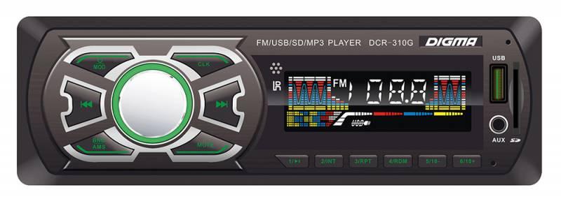 Digma DCR-310G автомагнитола479900MP3/USB ресивер 1DIN, выходная мощность 4х45Вт, FM радио, память на 18 станций, цветной дисплей, поддержка формата MP3, порты USB/SD/MMC/AUX, фиксированная панель, зеленая подсветка
