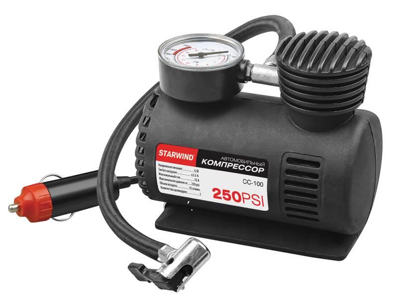 Компрессор автомобильный Starwind CC-100, 15 л/мин479010Компрессор автомобильный Starwind CC-100 предназначен для накачивания шин легковых автомобилей, квадроциклов, мотоциклов, велосипедов и многого другого. Технические характеристики:Производительность: 15 л/минДлина шланга: 45 мДлина кабеля: 300 смМощность: 12ВМаксимальный ток: 12А