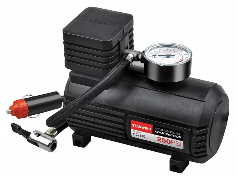 Компрессор автомобильный Starwind CC-120, 15 л/мин479011250 PSI, объем воздуха 15 л/мин, 12В, максимальный ток 12А, шланг 0.45м, кабель 3м