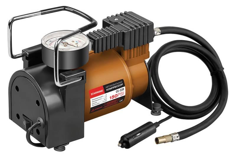 Компрессор автомобильный Starwind CC-220, 35 л/мин479014150 PSI, объем воздуха 35 л/мин, 12В, максимальный ток 15А, шланг 0.75м, кабель 3м