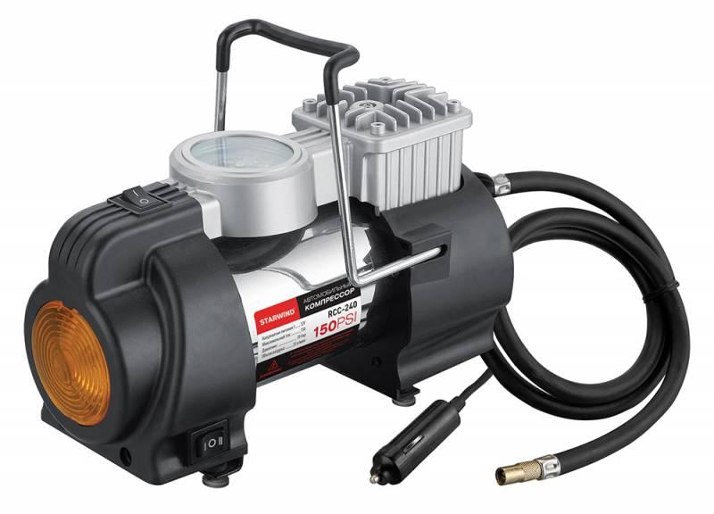 Компрессор автомобильный Starwind CC-240, 35 л/мин479015150 PSI, объем воздуха 35 л/мин, 12В, максимальный ток 15А, шланг 0.75м, кабель 3м