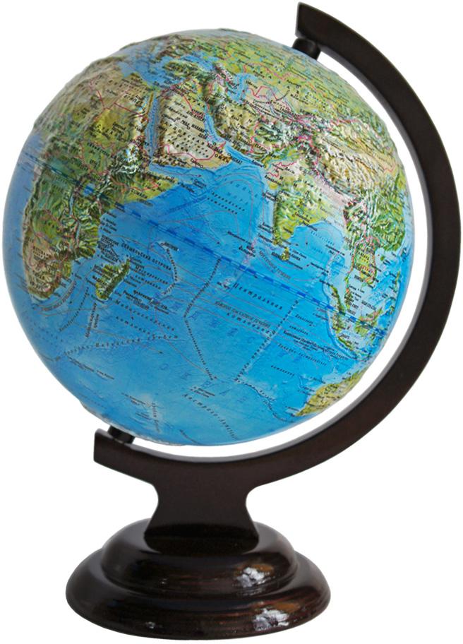Глобусный мир Ландшафтный глобус, рельефный, диаметр 21 см, на деревянной подставке