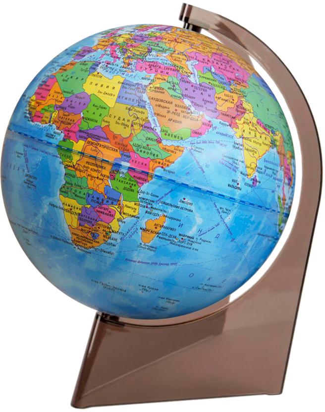 Глобусный мир Глобус политический на треугольной подставке диаметр 21 см10277Политический глобус на треугольной подставке.Диаметр: 210 мм.Масштаб: 1:60000000.Материал подставки: пластик.Цвет подставки: прозрачный.