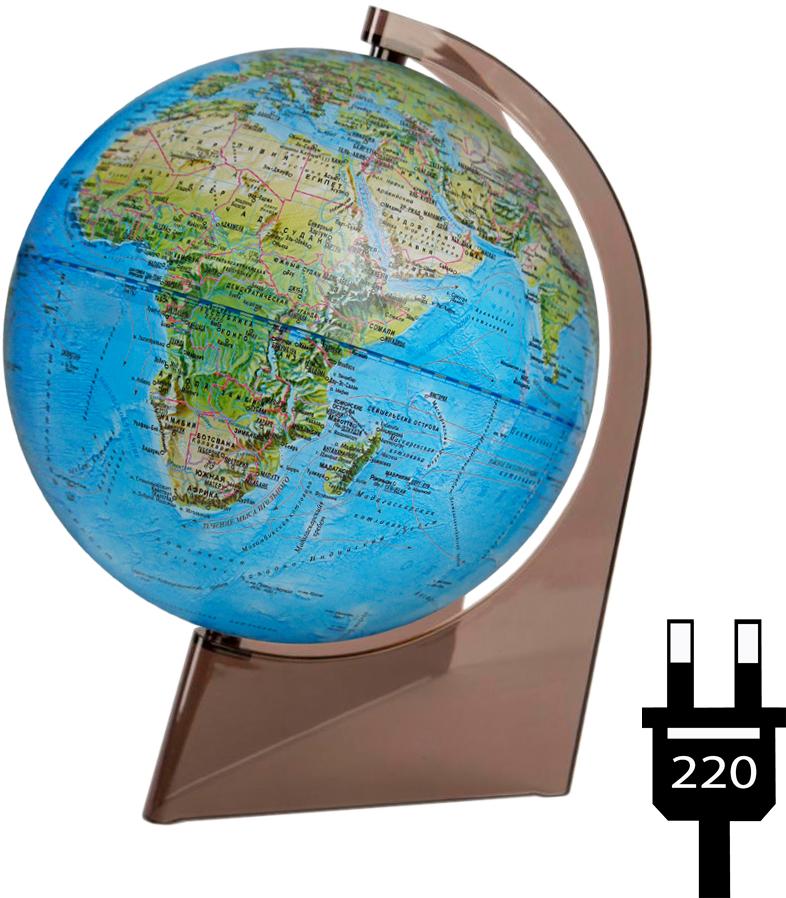 Глобусный мир Глобус с физической/политической картой, диаметр 21 см, с подсветкой, на подставке10289Географический глобус с физической и политической картой мира станет незаменимым атрибутом обучения не только школьника, но и студента. На глобусе отображены линии картографической сетки, гидрографическая сеть, рельеф суши и морского дна, крупнейшие населенные пункты, теплые и холодные течения. На глобусе также указаны названия стран и их границы. Глобус является уменьшенной и практически не искаженной моделью Земли и предназначен для использования в качестве наглядного картографического пособия, а также для украшения интерьера квартир, кабинетов и офисов. Красочность, повышенная наглядность визуального восприятия взаимосвязей, отображенных на глобусе объектов и явлений, в сочетании с простотой выполнения по нему различных измерений делают глобус доступным широкому кругу потребителей для получения разнообразной познавательной, научной и справочной информации о Земле. Глобус на оригинальной пластиковой подставке, с подсветкой.Масштаб: 1:60000000.