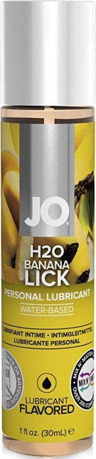 System JO Ароматизированный любрикант JO Flavored Banana Lick, 30 мл гель ароматизированный lick it himbeere малина 100 мл