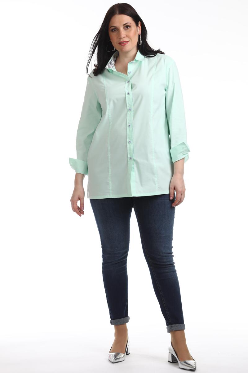 Блузка женская Averi, цвет: светло-салатовый. 1319_015. Размер 56 (60)1319_015Прекрасная классическая блузка Averi имеет прямой крой, поэтому отлично подходит для любого типа фигуры, выполнена с использованием двух тканей. Модель из белого хлопка с эластаном, с заниженной линией плеча имеет рубашечный воротник, внутренняя стойка из отделочной ткани с принтом. Модель с рельефами, на спинке имеется кокетка, по бокам разрезы. Модель имеет втачной рукав и манжеты с застежкой на пуговицы.