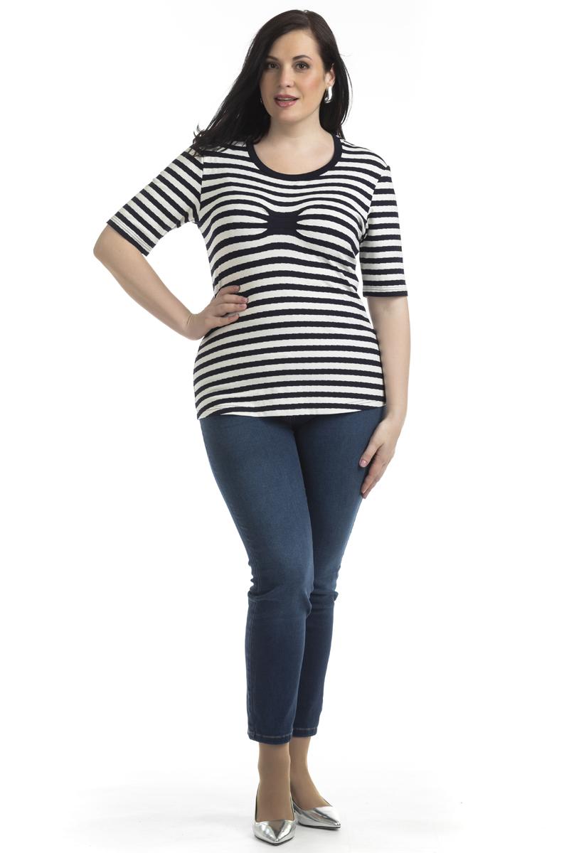 Блузка женская Averi, цвет: темно-синий. 1342_225. Размер 62 (66)1342_225Стильная блузка с узором в полоску изготовлена из вискозы. Округлая линия горловины с контрастным кантом. Рукав до локтя. На груди защипы, которые являются акцентом на футболке и подчеркивают индивидуальность образа.