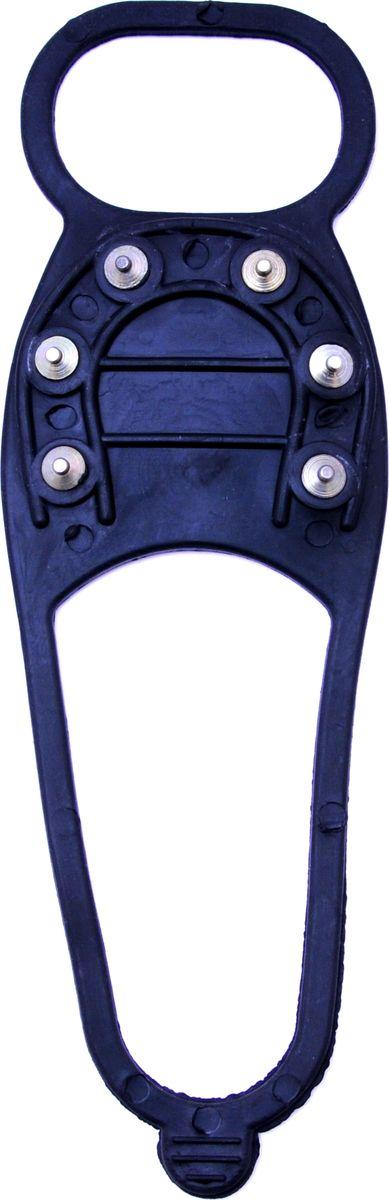 Ледоступы Практика Здоровья Подкова 4 шипа, цвет: черный. ANPKR6. Размер универсальныйANPKR6Надевается на пятку и на носок. Имеет 20 металлических шипов длиной 5 мм.