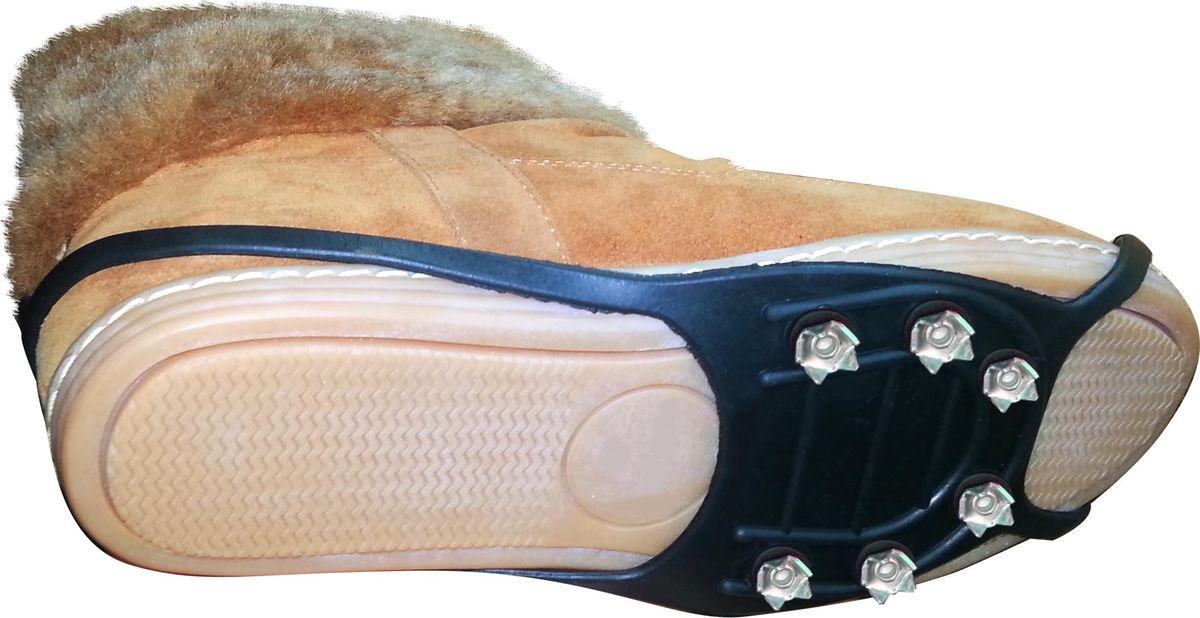 Ледоступы Практика Здоровья Подкова 6 шипов зведочки, цвет: черный. ANPZ6. Размер универсальныйANPZ6Надевается на пятку и на носок. Имеет 30 металлических шипов длиной 5 мм.