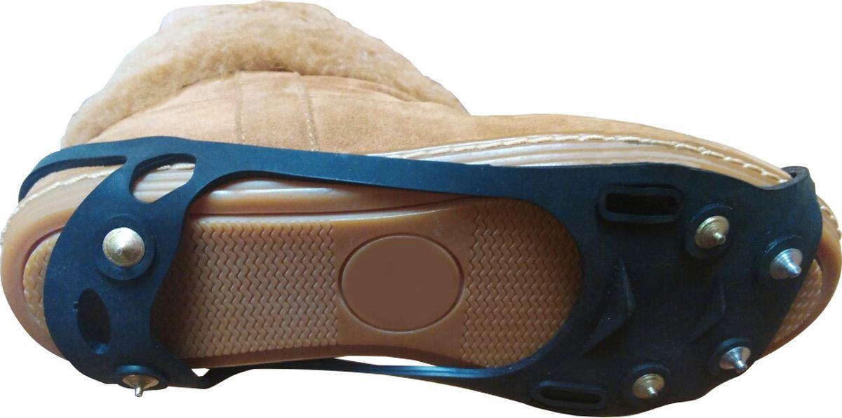 Ледоступы Практика Здоровья Скалолаз-Лайт круглые шипы без фиксирующей, цвет: черный. LaitR. Размер универсальныйLaitRНа подошве 6 металлических шипов длиной по 5 мм.(4 шипа в передней части и 2 шипа защищающих пяточную часть ноги) Антигололед имеет овальную форму, надевается на пятку и на носок. Сделан из прочной резины, которая хорошо тянется. Надевается на пятку и на носокРазмер универсал.