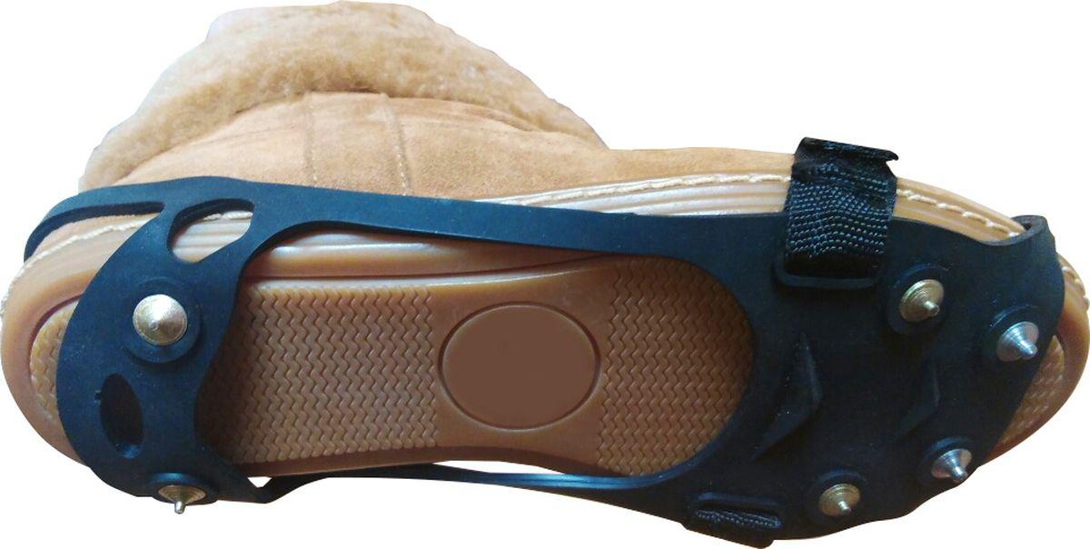 Ледоступы Практика Здоровья Скалолаз-Лайт круглые шипы с фиксирующей липучкой, цвет: черный. LaitR. Размер универсальныйLaitRНа подошве 6 металлических шипов длиной по 5 мм.(4 шипа в передней части и 2 шипа защищающих пяточную часть ноги) Антигололед имеет овальную форму, надевается на пятку и на носок. Сделан из прочной резины, которая хорошо тянется. Надевается на пятку и на носок. Дополнительно фиксируется липучкой