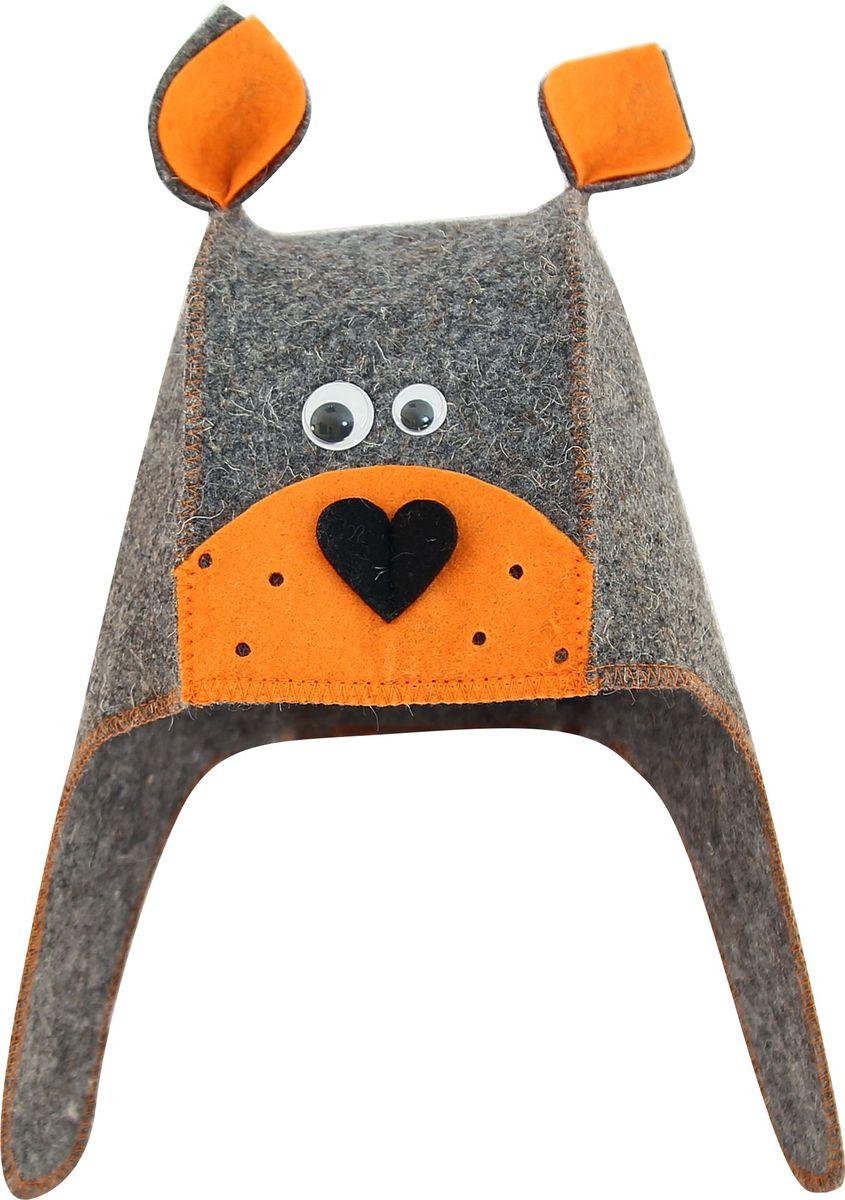 """Банная шапка Главбаня """"Бобик"""" изготовлена из плотного серого войлока и выполнена в оригинальном дизайне. Войлок - натуральный материал, выполненный из овечьей шерсти - защитит от перегрева.  Шапка оснащена удобной петлей для подвешивания."""