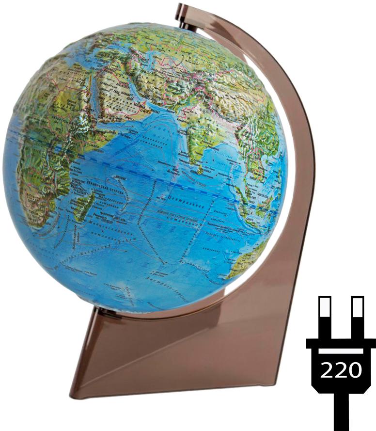 Глобусный мир Глобус с физической/политической картой, рельефный, диаметр 21 см, с подсветкой, на подставке