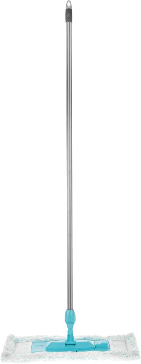 Швабра Эргопак, плоская, универсальная, с прорезиненной рукояткой, цвет: серый, голубой, длина 118 см3701 ERGN_серый, голубойУниверсальная плоская швабра Эргопак отлично подходит для мытья всех типов напольных поверхностей: паркет, ламинат, линолеум, кафельная плитка. Материалы насадки - полиэстер и полиакрилонитрил, которые обладают высокой износостойкостью, не царапают поверхности и отлично впитывают влагу. Специальная конструкция поворотного соединения позволяет очищать труднодоступные места. Благодаря складному держателю, можно легко заменить чистящие насадки.Закручивающаяся прорезиненная рукоятка может отсоединяться от насадки. Швабра подходит для влажного и сухого использования. Длина ручки: 118 см.Размер насадки: 47 х 16 см.