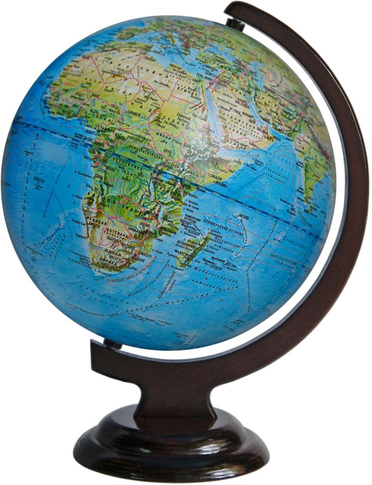 Глобусный мир Ландшафтный глобус, диаметр 25 см, на деревянной подставке10237Ландшафтный глобус Глобусный мир, изготовленный из высококачественного прочного пластика.Даннаямодель предназначена для ознакомления с особенностями ландшафта нашей планеты. Помимо этоголандшафтный глобус обладает приятной цветовой гаммой. Глобус дает представление о местоположенииматериков и океанов, на нем можно рассмотреть особенности ландшафта нашей планеты (рельефы местности,леса, горы, реки, моря, структуру дна океанов, рельеф суши), можно увидеть графическое изображениегеографических меридианов и параллелей, гидрографическая сеть, а также крупнейшие населенные пункты. Наглобусе имеются направления и названия подводных течений. Названия стран на глобусе приведены на русскойязык. Изделие расположено на красивой деревянной подставке, что придает этой модели подарочный вид. Настольный глобус Глобусный мир станет оригинальным украшением рабочего стола или вашего кабинета. Этоизысканная вещь для стильного интерьера, которая станет прекрасным подарком для современногопреуспевающего человека, следующего последним тенденциям моды и стремящегося к элегантности и комфорту вкаждой детали.Масштаб: 1:50 000 000.