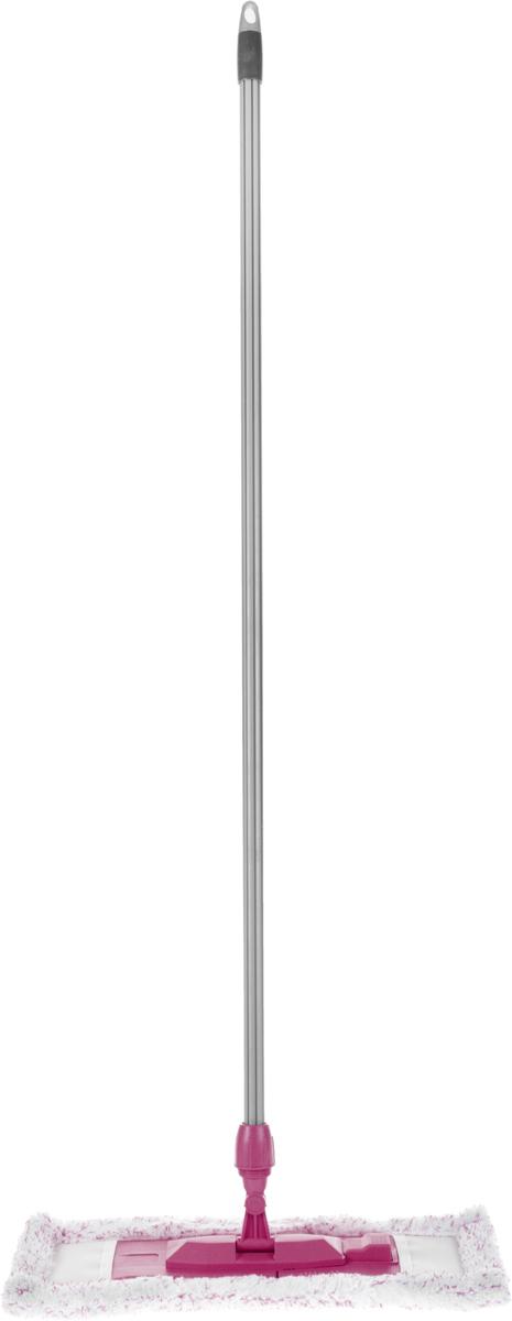 Швабра Эргопак, плоская, универсальная, с прорезиненной рукояткой, цвет: серый, малиновый, длина 118 см3701 ERGN_серый, малиновыйУниверсальная плоская швабра Эргопак отлично подходит для мытья всех типов напольных поверхностей: паркет, ламинат, линолеум, кафельная плитка. Материалы насадки - полиэстер и полиакрилонитрил, которые обладают высокой износостойкостью, не царапают поверхности и отлично впитывают влагу. Специальная конструкция поворотного соединения позволяет очищать труднодоступные места. Благодаря складному держателю, можно легко заменить чистящие насадки. Закручивающаяся прорезиненная рукоятка может отсоединяться от насадки. Швабра подходит для влажного и сухого использования. Длина ручки: 118 см.Размер насадки: 47 х 16 см.