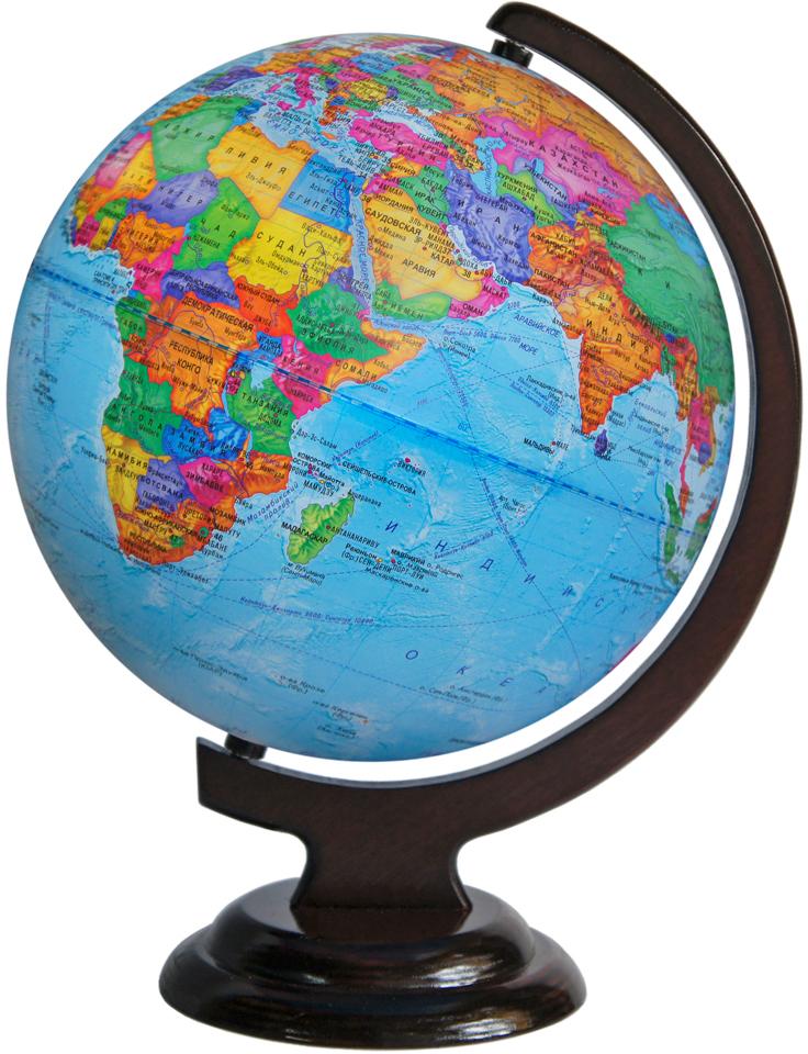 Глобусный мир Глобус политический на деревянной подставке диаметр 25 см10028На глобусе на общегеографической основе показаны границы государств и демаркационные линии, столицы и крупные населенные пункты. Диаметр, мм: 250 Масштаб: 1:50000000 Материал подставки: Дерево Цвет подставки: Вишня, Орех. Размер коробки: 260 х 260 х 360 мм.
