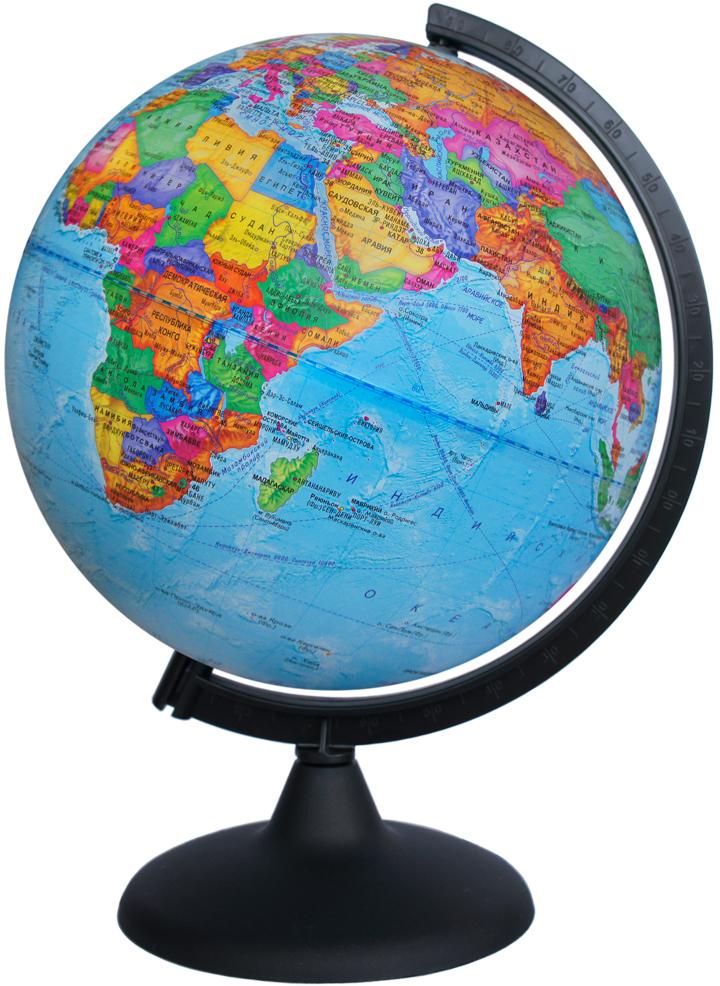 Глобусный мир Глобус с политической картой мира диаметр 25 см10161Глобус с политической картой мира Глобусный мир, изготовленный из высококачественного и прочного пластика, показывает страны мира, железнодорожные и морские пути сообщения, научные станции, расположение столиц государств и населенных пунктов. На нем отображены картографические линии: параллели и меридианы, а также градусы и условные обозначения. Каждая страна обозначена своим цветом. Названия стран на глобусе приведены на русском языке. Изделие расположено на черной пластиковой подставке.Глобус с политической картой мира станет незаменимым атрибутом обучения не только школьника, но и студента Настольный глобус Глобусный мир станет оригинальным украшением рабочего стола или вашего кабинета. Это изысканная вещь для стильного интерьера, которая станет прекрасным подарком для современного преуспевающего человека, следующего последним тенденциям моды и стремящегося к элегантности и комфорту в каждой детали.Масштаб: 1:50 000 000.