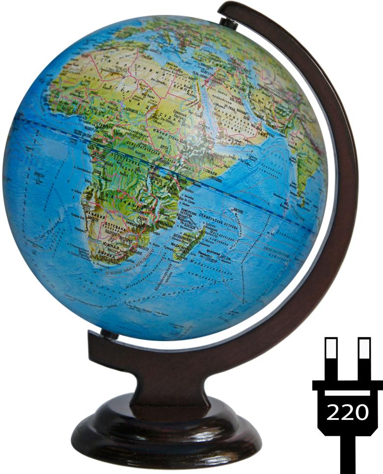 Глобусный мир Глобус с физической/политической картой мира диаметр 25 см с подсветкой на подставке цвет коричневый