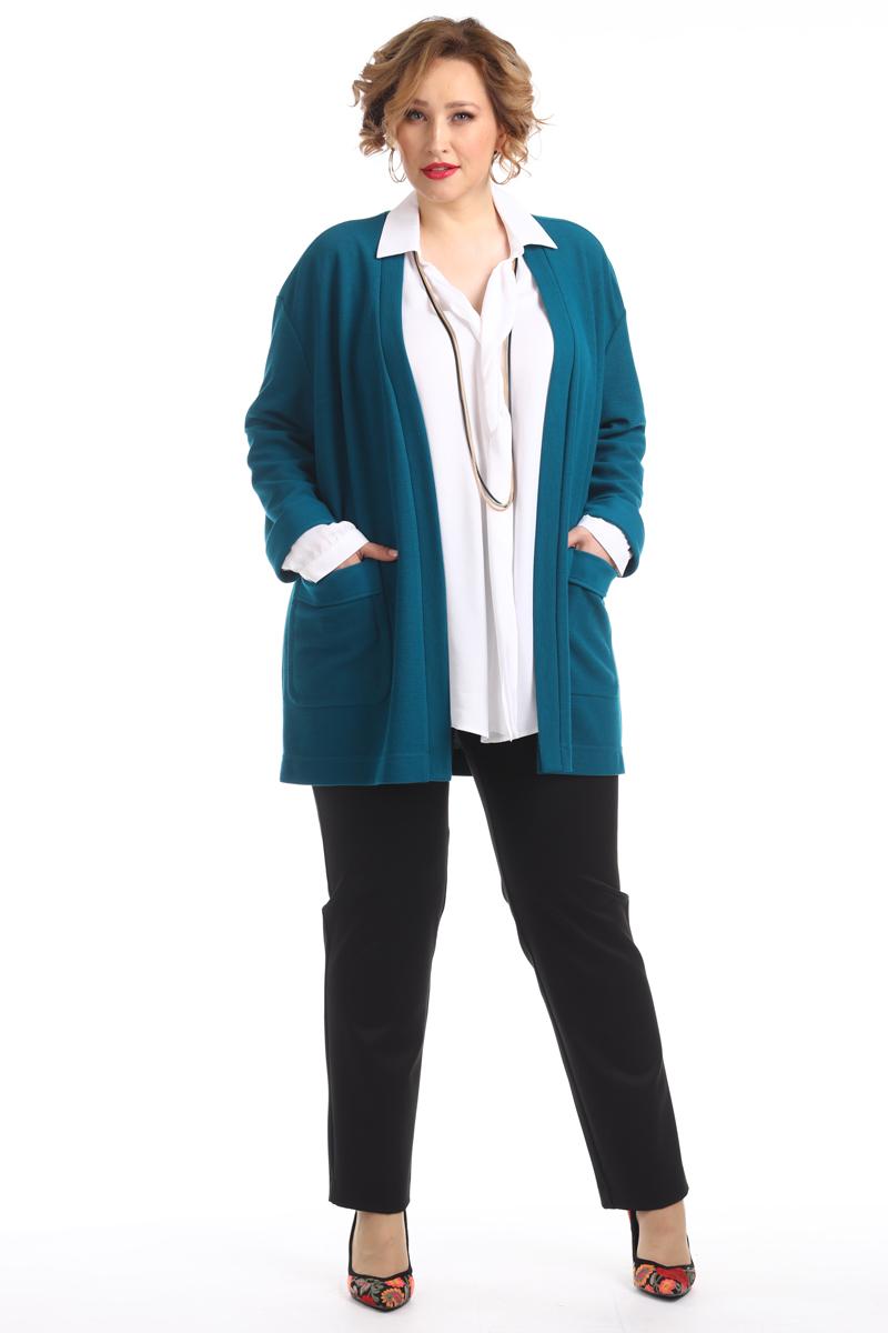 Кардиган женский Averi, цвет: бирюзовый. 1334_538. Размер 50 (54)1334_538Кардиган выполнен без застежки из качественной ткани. По низу рукавов имеются манжеты с отворотами. Элегантная модель дополнена накладными карманами. Свободно сидящий кардиган подойдет для нежной, но уверенной в себе женщины с любым типом фигуры. Модель в сочетании с блузкой и брюками создаст актуальный и стильный образ.