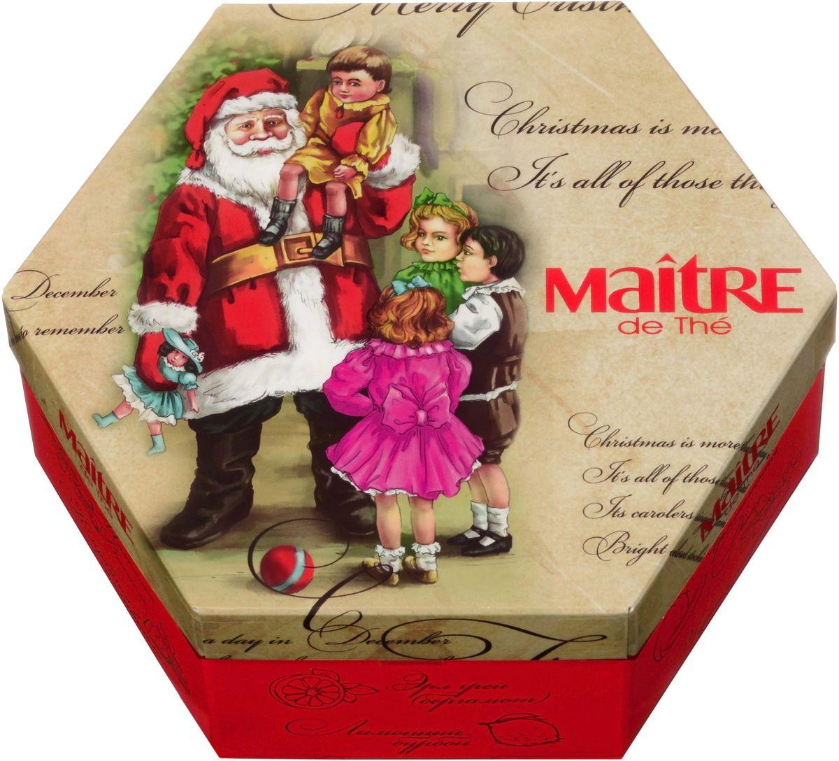 Maitre набор пакетированного чая дед мороз и дети, 120 гбаж057Наполнение - пакетированный чай в металлизированных конвертах, 12 (6 чер/6 зел) вкусов из регулярной коллекции Maitre de The: зеленый: лотос и роза, жасмин, малина, клубника, лайм, мята; черный: клубника со сливками, мятная ваниль, лимонный бурбон, ароматная дыня, бергамот, черная смородина.
