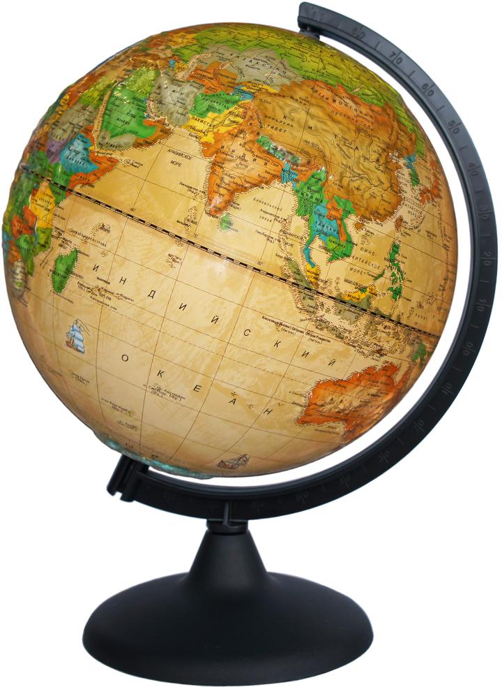 """Глобусный мир Глобус с политической картой, """"Ретро-Александр"""", рельефный, диаметр 25 см"""