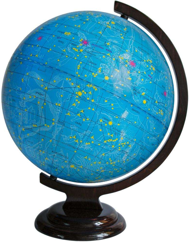 Глобусный мир Глобус звездного неба, диаметр 32 см. 1006510065Глобус звездного неба Глобусный мир, изготовлен из высококачественного прочного пластика.Данная модель предназначена для ознакомления с космосом, звездами и созвездиями. На нем нанесены те же круги, что и на картах звёздного неба, - небесные параллели, меридианы, экватор и эклиптика.Такой глобус станет прекрасным подарком и учебным материалом для дальнейшего изучения астрономии. Помимо этого, глобус обладает приятной цветовой гаммой. Изделие расположено на деревянной подставке.Настольный глобус звездного неба Глобусный мир станет оригинальным украшением рабочего стола или вашего кабинета. Это изысканная вещь для стильного интерьера, которая станет прекрасным подарком для современного преуспевающего человека, следующего последнимтенденциям моды и стремящегося к элегантности и комфорту в каждой детали. Масштаб: 1:40 000 000.